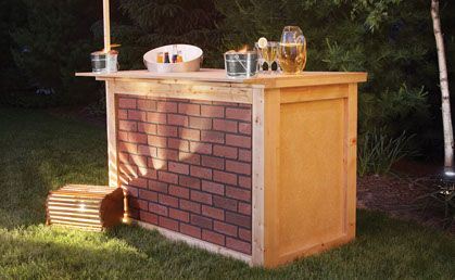"Building an outdoor bar is a great project to make your backyard party-ready. For blueprints and detailed instructions on this advanced project, click on 'Download a PDF' below.   Supplies:  •    Drill Driver + Wood Screws  •    2 Sheets of 3/4"" x 48"" x 96""       Particle Board    •    5 planks of 8' length 2"" x 4""  •    Brick Masonite (optional)  •    Wood Glue (optional)  •    Varnish (optional)"