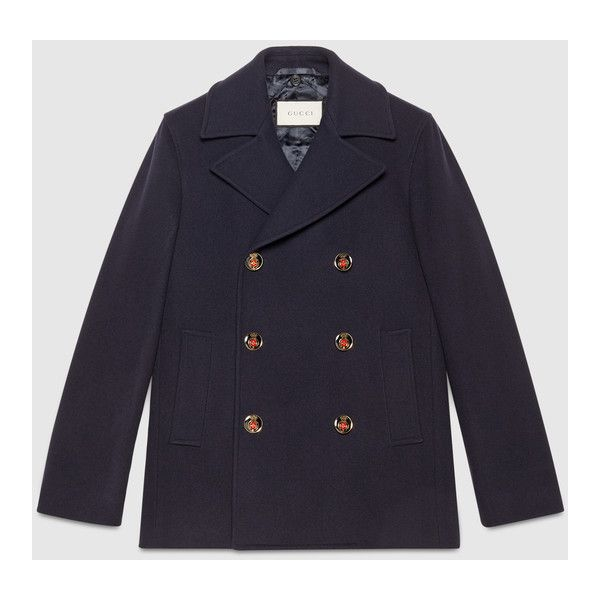 Gucci Wool Pea Coat With Web ($2,500) ❤ liked on Polyvore featuring men's fashion, men's clothing, men's outerwear, men's coats, mens double breasted pea coat, mens double breasted wool coat, mens wool pea coat, mens wool coats and mens fur collar coat