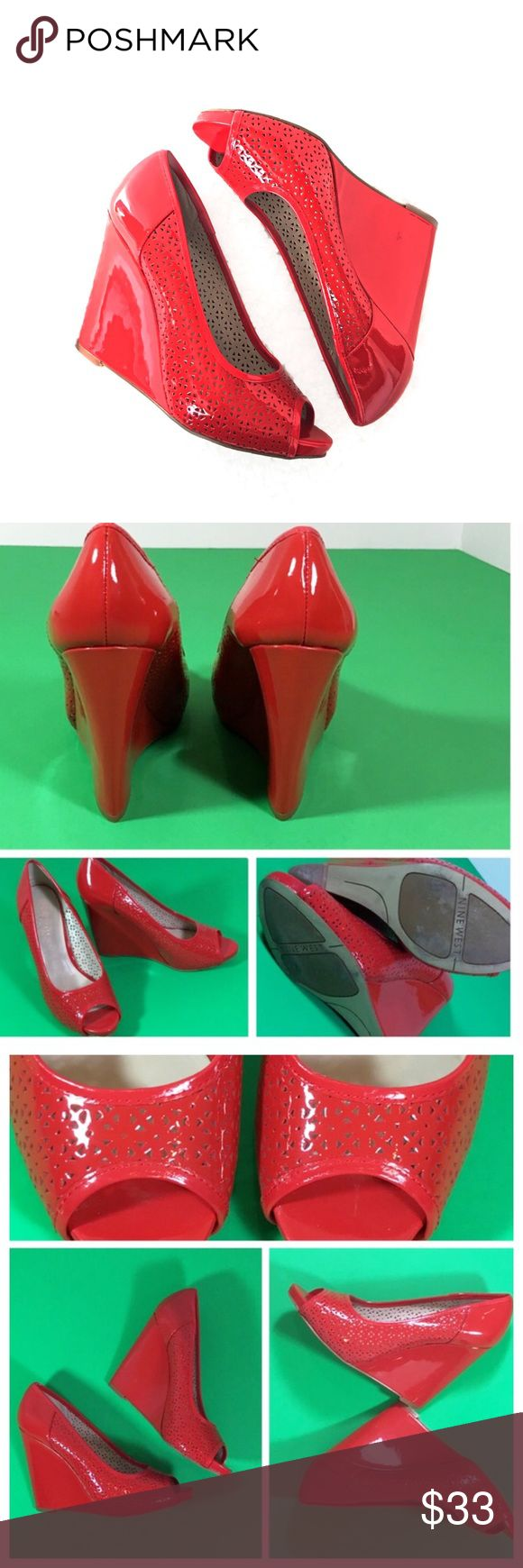 Sz 7.5 NINE WEST Red Patent Leather Peep Toe Shoes 〰NINE WEST FAUNAR Size 7.5 Red Patent Leather Wedge/Platform  Peep Toe Shoes-EXCELLENT CONDITION- 〰Please see pics for more info and Approx: Measurements...  🛍Thank you, Deb     Have fun Poshing! Nine West Shoes Wedges