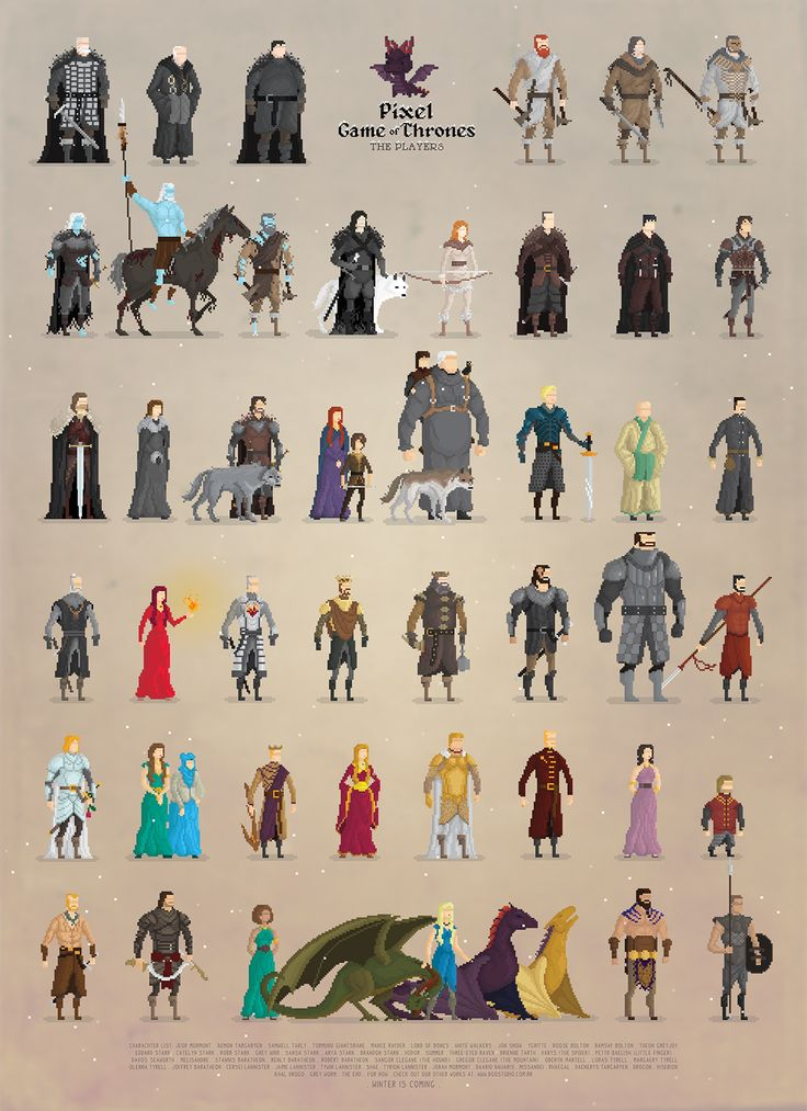 A pixel art fan art rendering of the cast of Game of Thrones. These are stylized a bit like old Sierra adventure games. Artist: Boo! Studio