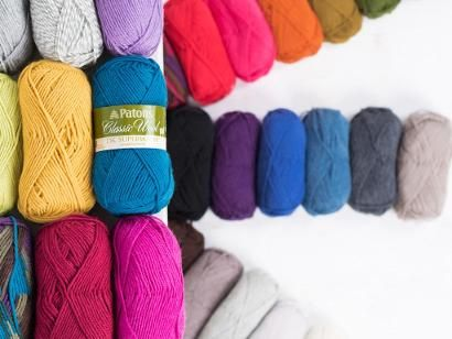 The warmth of wool + the convenience of easy care! Patons Classic Wool DK…