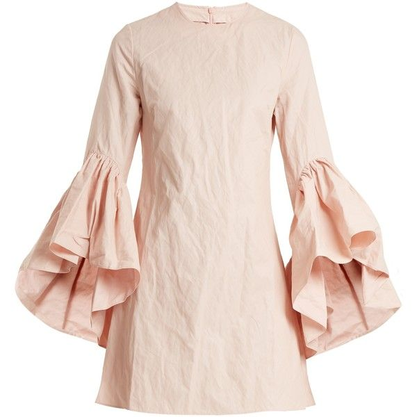 Marques'Almeida Asymmetric ruffled-sleeve twill dress (2,435 PEN) ❤ liked on Polyvore featuring dresses, light pink, pink metallic dress, pink dress, sleeved dresses, metallic dress and light pink short dress
