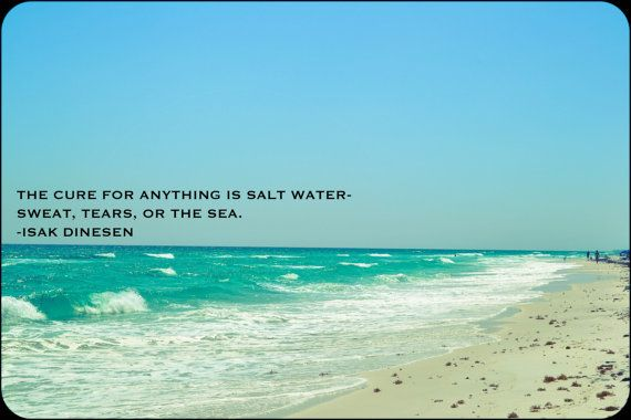 Salt Water quote- sweat, tears, or the sea. Isak Dinesen quote print