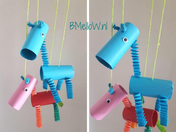 Knutselen met wc rollen. giraf BMelloW,nl