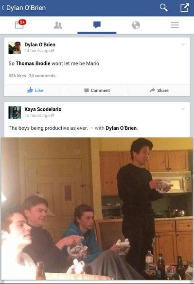 Thomas, Dylan, Jacob and Ki Hong Lee playing Mario kart while filming The Scorch Trials