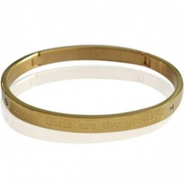 """Bangle """"Happy Girls are the prettiest"""" Gold"""