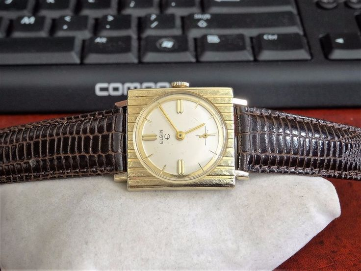 Vtg 1960s Elgin 10K Rolled Gold Plate Bezel Mens Watch w/ 18mm Lizard Grain Band #Elgin #DressFormal