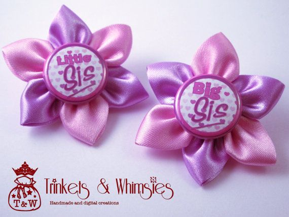 Big Sis Little Sis Lavender Lush Kanzashi by TrinketsAndWhimsies