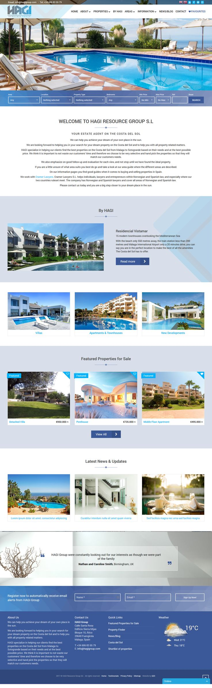 HAGI specialize in helping their clients find the best properties on the Costa del Sol from Malaga to Sotogrande based on their needs and at the best possible price. They think it is important to not waste our customers' time and therefore choose to be very selective and hand pick the properties so that they will match their customers needs. #ResalesOnline #qresXML #RealEstate