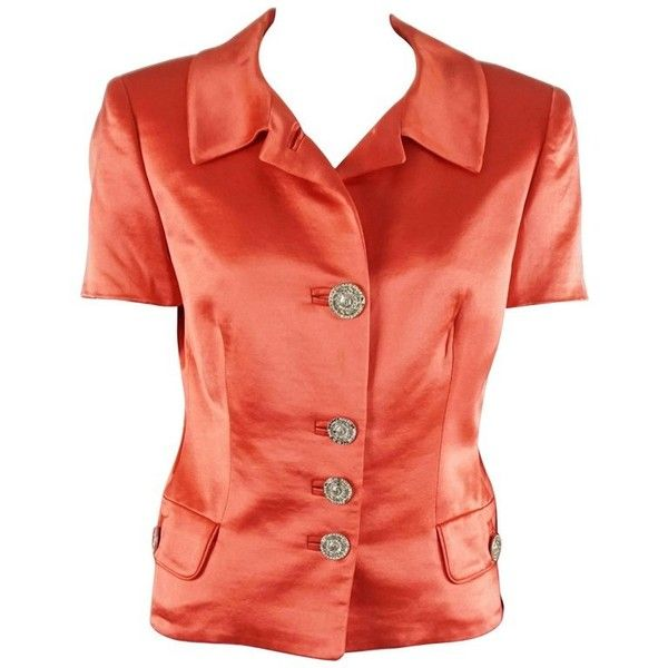 Preowned Gianni Versace Couture Coral Silk Short Sleeve Jacket -small ($300) ❤ liked on Polyvore featuring outerwear, jackets, red, silk jacket, red jacket, short sleeve jacket, versace and red silk jacket