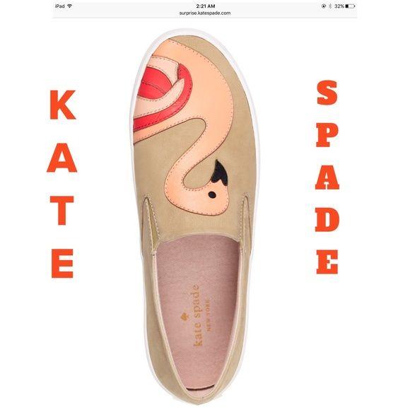 """2 """" HP """" Kate Spade Sneakers   Kate Spade Selma Sneakers !! Beige with a Flamingo !! Slide on sneakers !! Nubuck with rubber heel !! Adorable!! Cute !! Comfy slip ons !!  NO BUNDLING !!!!! kate spade Shoes Sneakers"""