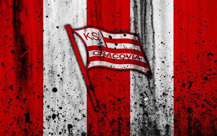 Download wallpapers FC Cracovia, 4k, grunge, Ekstraklasa, logo, football club, Poland, Cracovia, soccer, art, stone texture, Cracovia FC