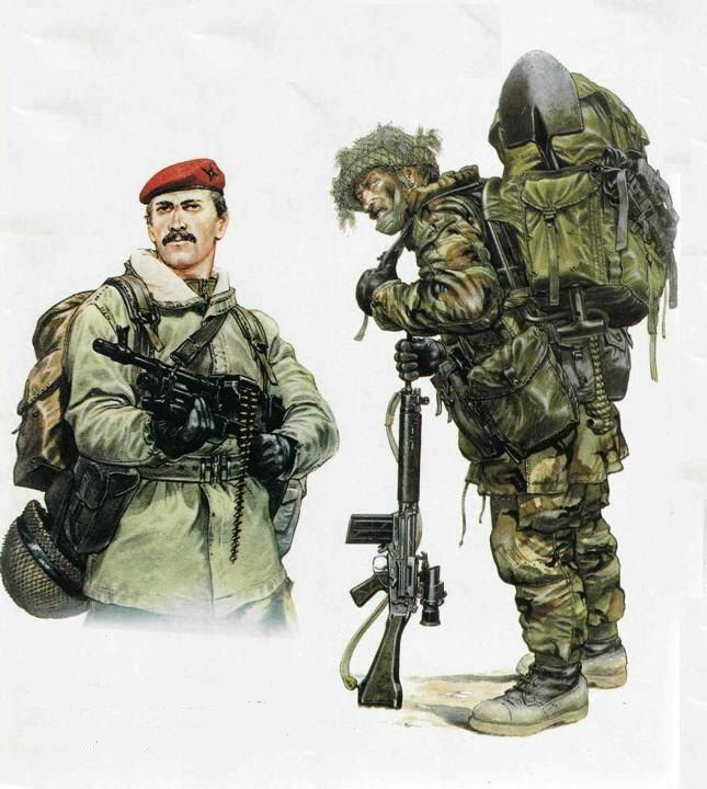 BRITISH PARACHUTE REGIMENT during Falklands Conflict.