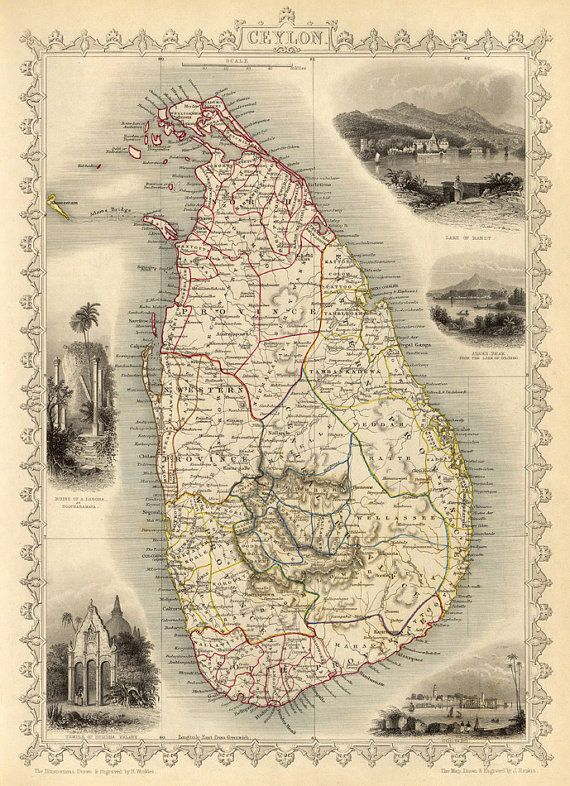 Map of Ceylon (Sri Lanka) from 1851 - print. ----------- The image for this print was digitally enhanced for best appearance. Most of the folding