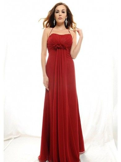 A-Line Halter Empire Floor-Length Chiffon Bridesmaid Dresses