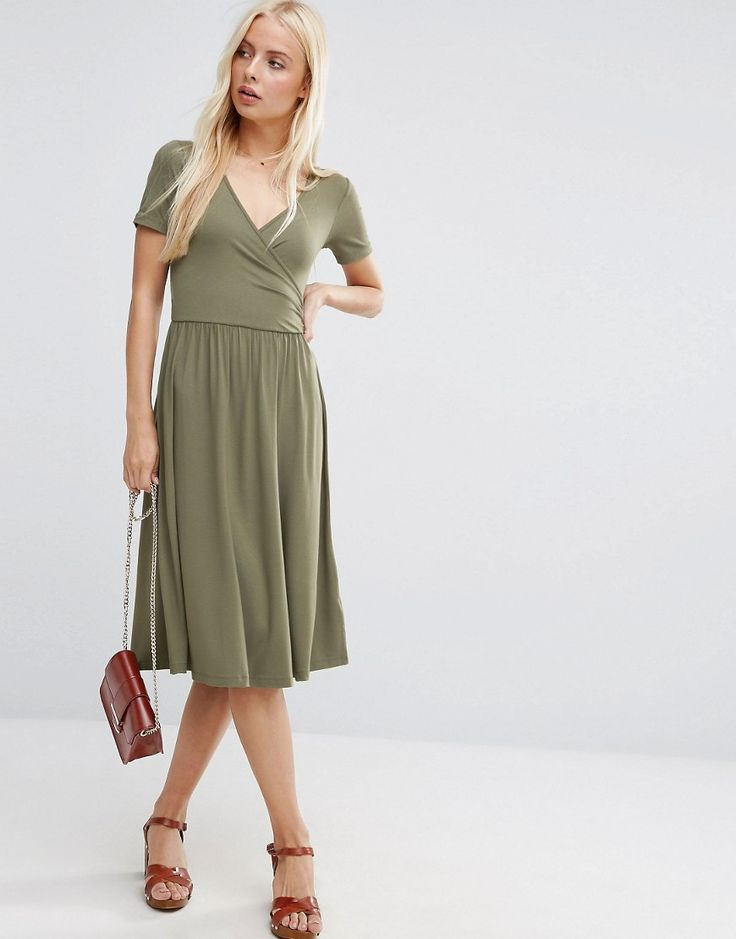 Basic wrap dress. Nice midi length. Color looks soft autumn to me or maybe even a spring version of khaki?