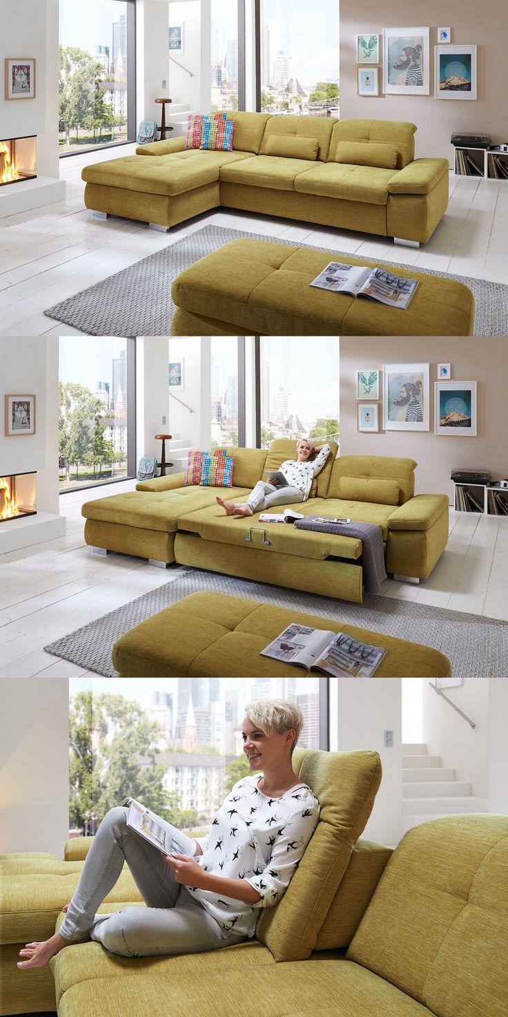 modernes Ecksofa Artus | Setze mit dieser Garnitur, bezogen in einem leuchtend grünen Chenille-Flachgewebe, einen farbigen Akzent und hole dir frischen Wind in dein Zuhause. #green #Ecksofa #relax #Entspannung #MoebelLETZ