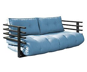 Divano/futon in pino e cotone Funk Double turchese - 95x174x60 cm