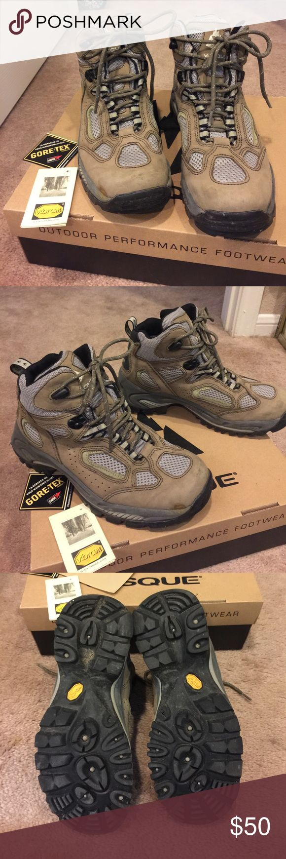 Vasque Hiking Boots Worn for two trips. Some discoloration on toes as pictured. Vibrant bottoms. Goretex coated. VERY sturdy. Still some dirt on them here and there, but that's what they're for! Vasque Shoes Lace Up Boots