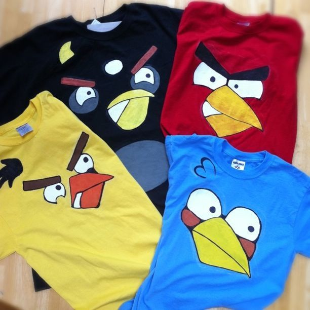 Make your own angry bird shirts as party favors!