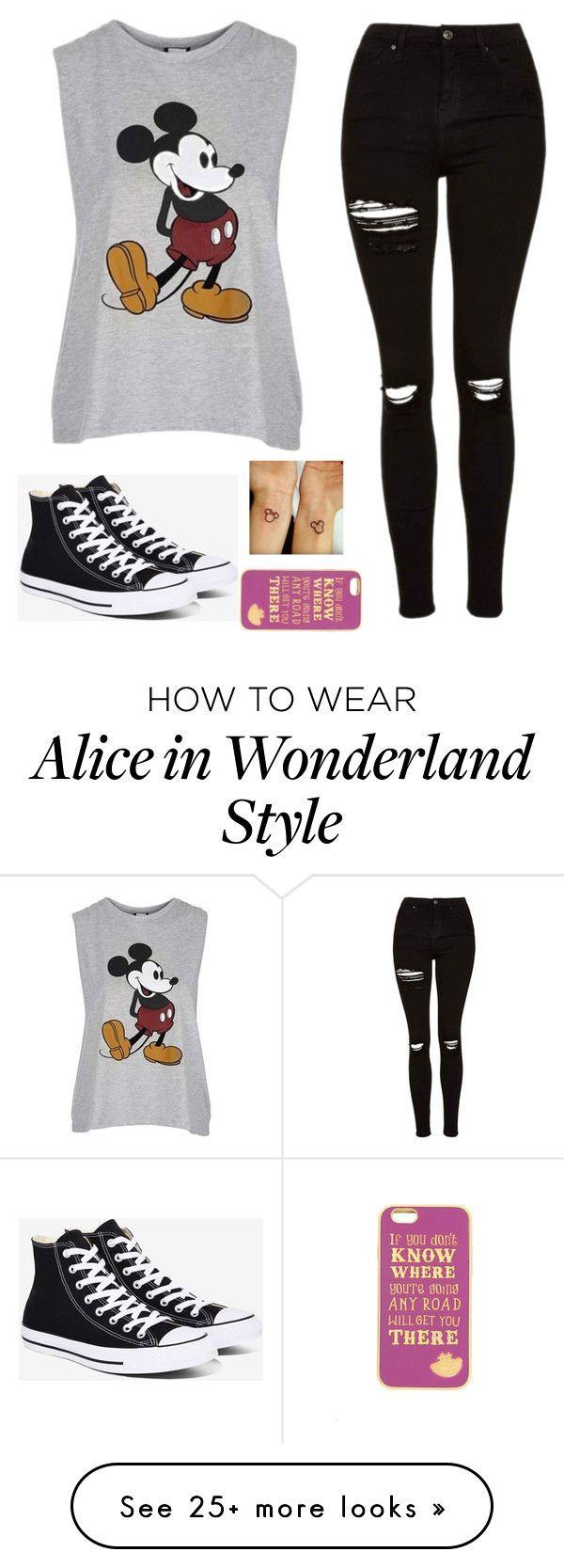 """""""Untitled #1526"""" by tokyoghoul1 on Polyvore featuring Topshop, Converse and Disney"""