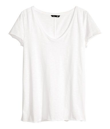 H&M: it's hard to find a good white vneck shirt that's not too tight, or too loose