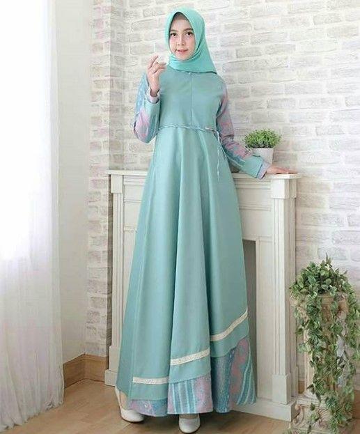 Model Baju Gamis Batik Kombinasi Kain Polos Simple Soft Tosca