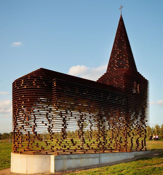 Designed in 2011 by architects Pieterjan Gijs and Arnout Van Vaerenbergh, this surrealistic folly in the Belgian city of Borgloon is composed of 100 evenly spaced layers of steel that are stacked, in the form of a nave and steeple. Inspired by local church buildings, the 30-foot-high structure was created as a longterm work of public art along a walking path.