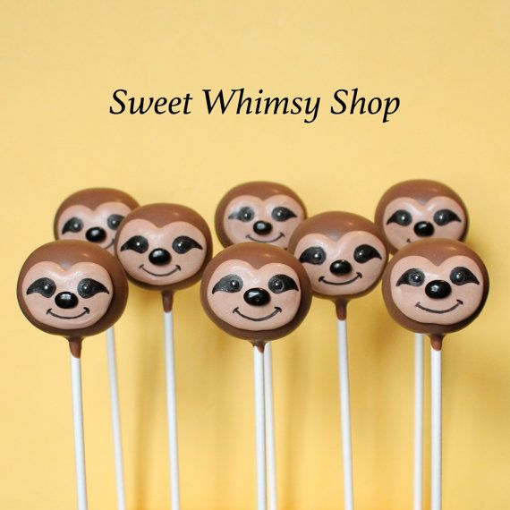 Hey, I found this really awesome Etsy listing at https://www.etsy.com/listing/227748288/12-cute-sloth-cake-pops-for-jungle-party