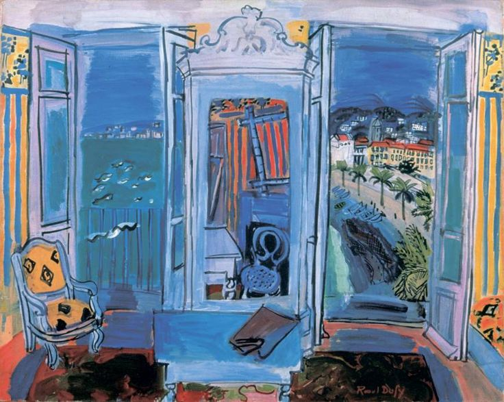 'Fenêtre ouverte à Nice', 1928 - Raoul Dufy (1877–1953) Unbelievably beautiful and incredible use of the Duffy blues!