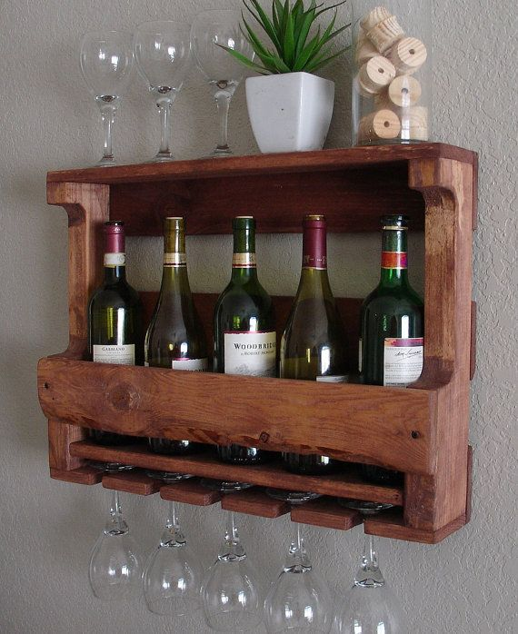 Rustic Wall Mount Wine Rack with 5 Glass Holder and Shelf on Etsy, $65.00