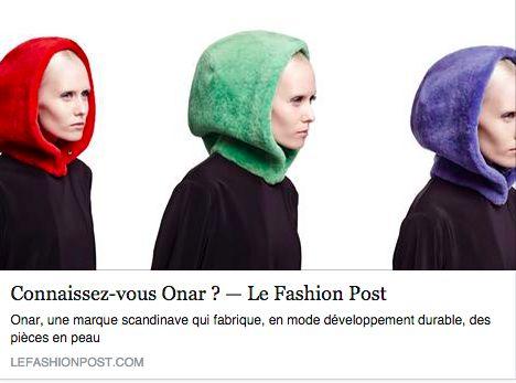 ONAR in Le Fashion Post