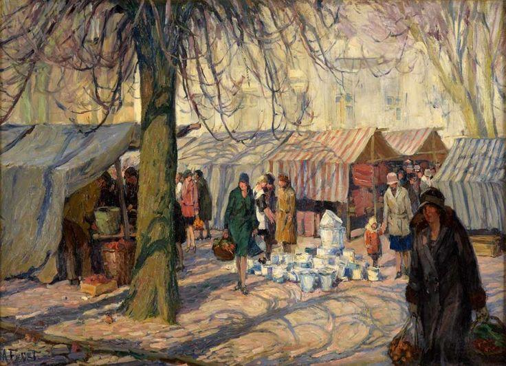 Frost, Martin   1875 Berlin - 1928 Kampen auf Sylt Markttag. Signiert. Öl/Lwd., 84 x 122 cm.