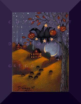 Fall Decorating    An aceo Crow Halloween PRINT by Deborah Gregg. $8.00, via Etsy.