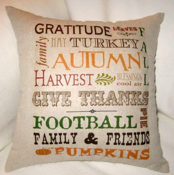 Fall Pillow Autumn Typography Harvest Pillow Thanksgiving Decor Cushion French Country Home Decor Football Pumpkins Halloween