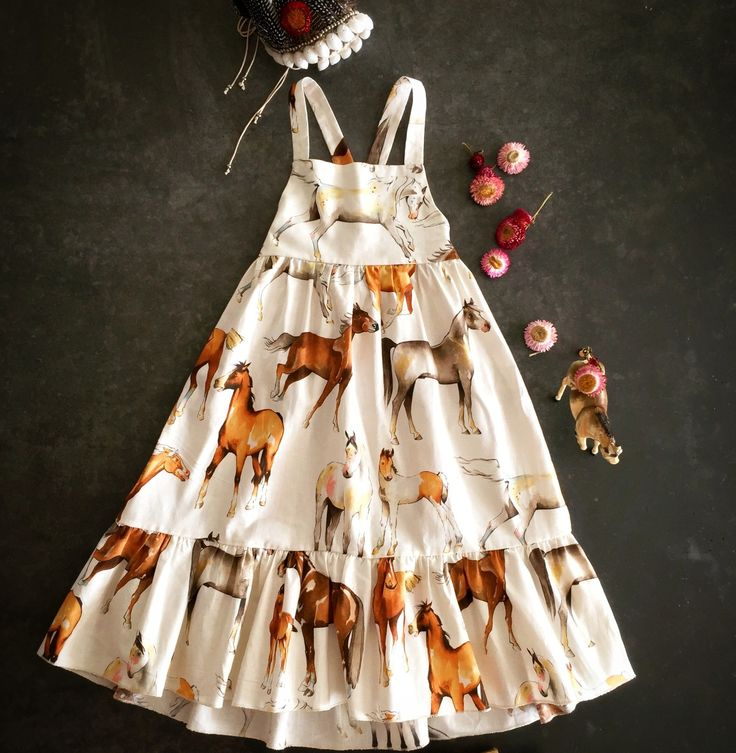 Winter Fall Autumn 2017 Girls Kids fashion styling horses horse print fabric horse lovers maxi dress skirt 2017 kids fashion trends