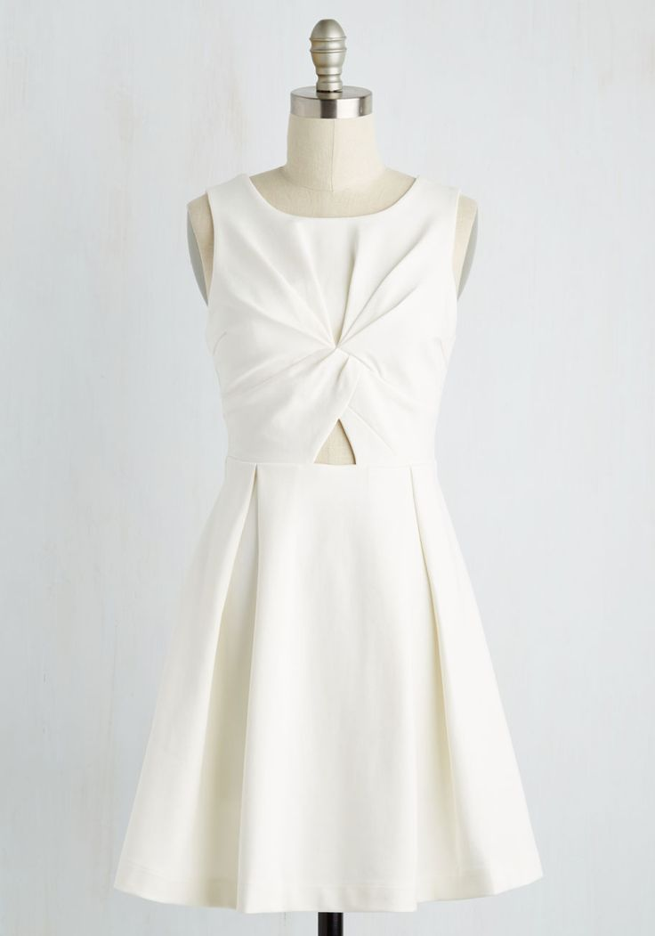 Fold in High Regard Dress - Solid, Daytime Party, Fit & Flare, Sleeveless, Spring, Knit, Better, Short, White
