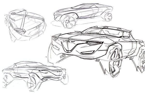 This is a small sketch project, a production Ram 1500, the design of which is based upon my X-Games Rally Truck.  The design is focused on dynamism without losing toughness, and the facia is again inspired by the animal this brand is named after.