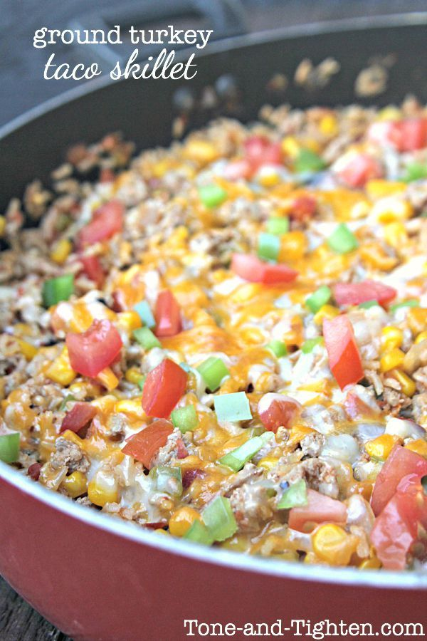 "My son dubbed this ""Taco Explosion"". .. which is basically what it is! Loaded with vegetables and ground turkey, this is an amazing dinner that even your picky eater's will love! <em class=short_underline> Print </em> Ground Turkey Taco Skillet Recipe type: Main Dish Prep time: 15 mins Cook time: 10 mins Total time: 25 mins Serves: 5 A healthy dinner your whole fa..."