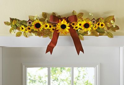 Sunflower Horizontal Floral Swag Decoration. Above largest window in bonus room or above dining room closet