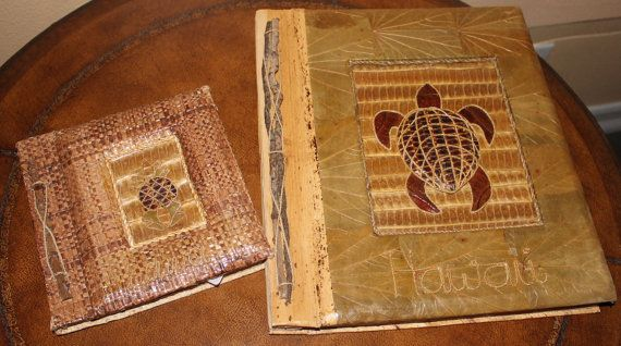 Bamboo paper Hawaii Photo Albums  set of 2 by ZuziDesign on Etsy, $39.99