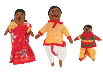 Fair Trade Indian Felt Family. These dolls are handmade under Fair Trade conditions from soft woollen felt.