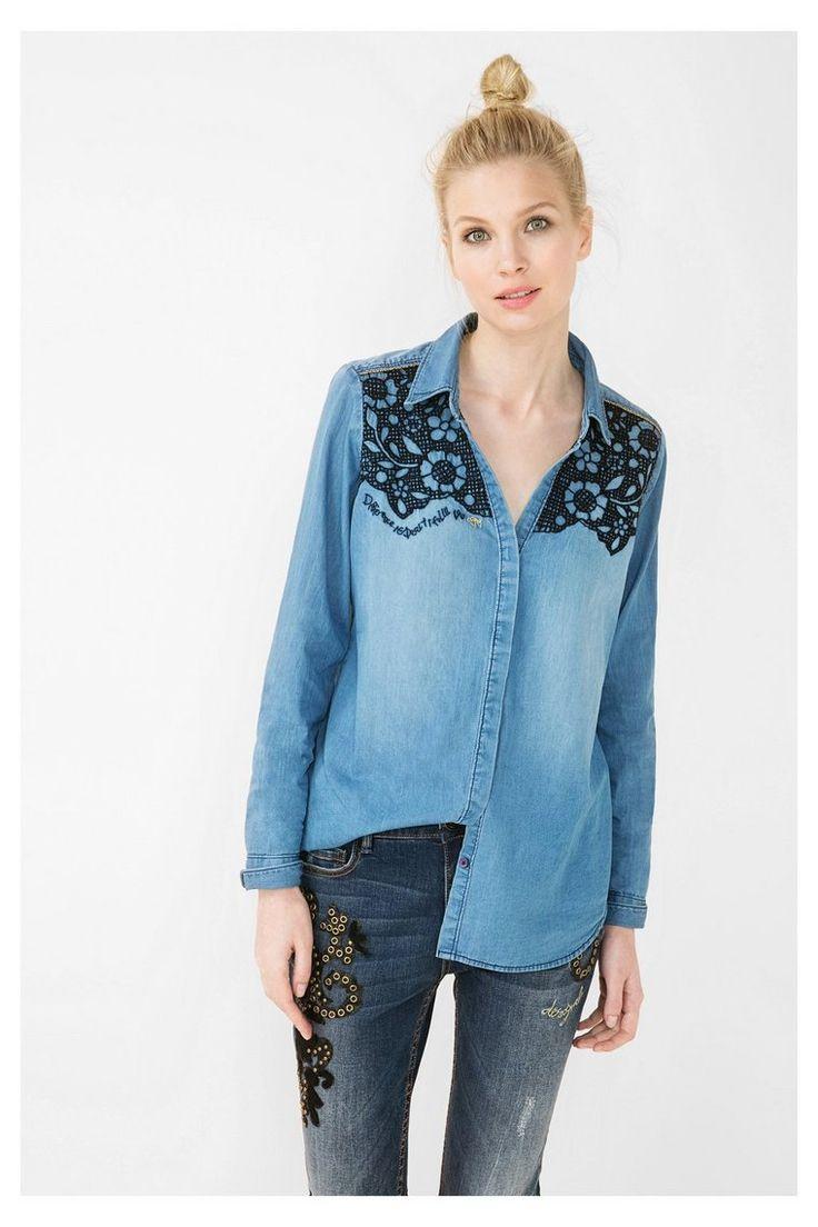 Denim shirt met geborduurde bloemen | Desigual.com 5053