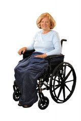 Granny Jo Lightweight Wheelchair Blanket - Velcro straps on each side keep the blanket in place. The blanket has a roomy front pocket and a velcro patch for securing the blanket behind the legs. - $20