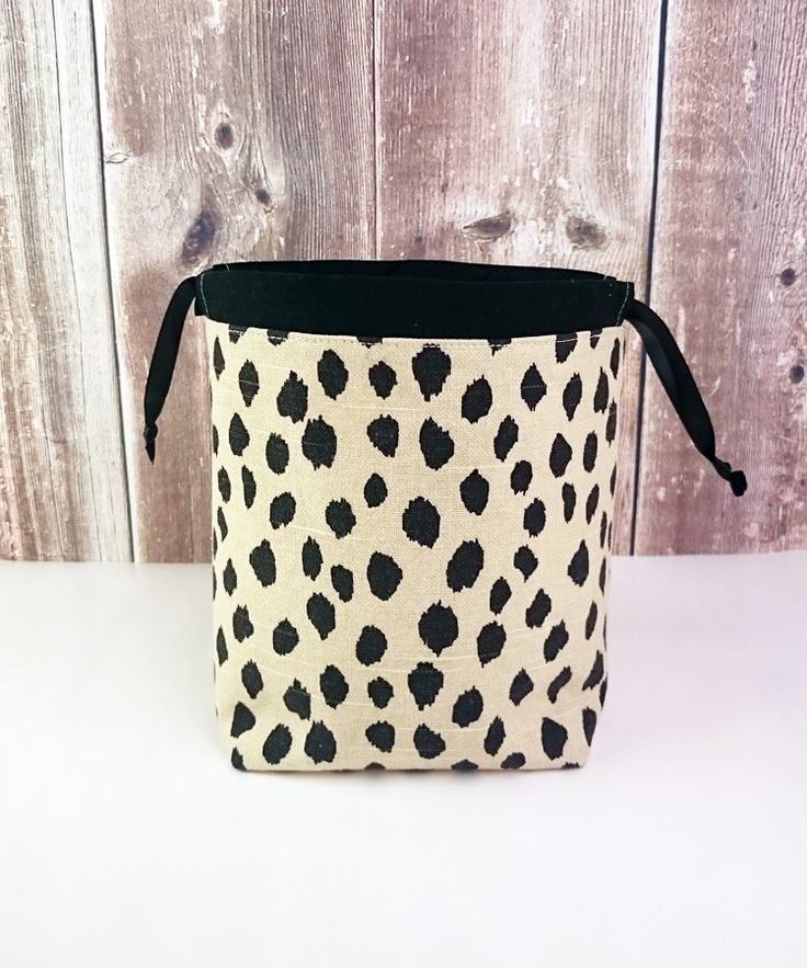 Sock Knitting Bag in Spotted Animal print, Knitting Project Bag for two at a time sock knitting, Drawstring Tote Bag - Small Socksack by MyNeedleCrafts on Etsy