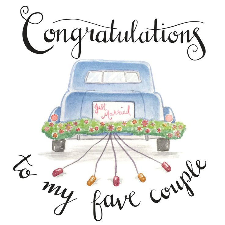 congrats, congratulations, newlyweds, wedding card by Bethany Robyn