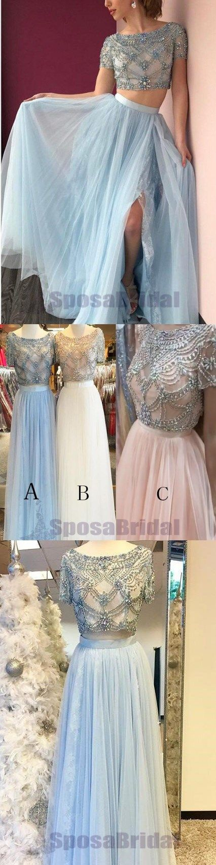 Two Pieces Short Sleeves Beaded Sparkly Affordable Prom Dresses, Fashion Elegant Prom Gowns, PD0583