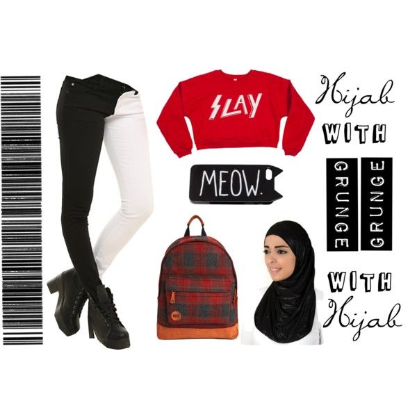 Grunge With Hijab. by nabillasyarah on Polyvore featuring Mi-Pac, H&M, school, WhatToWear and hijabstyle
