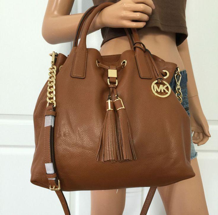 Michael Kors Brown Soft PEBBLED Leather Tote Shoulder Crossbody Bag Purse   eBay