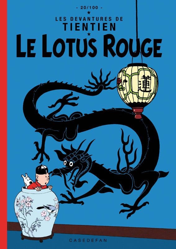 The Blue Lotus cover pastiche in blue not the original red • Tintin, Herge j'aime
